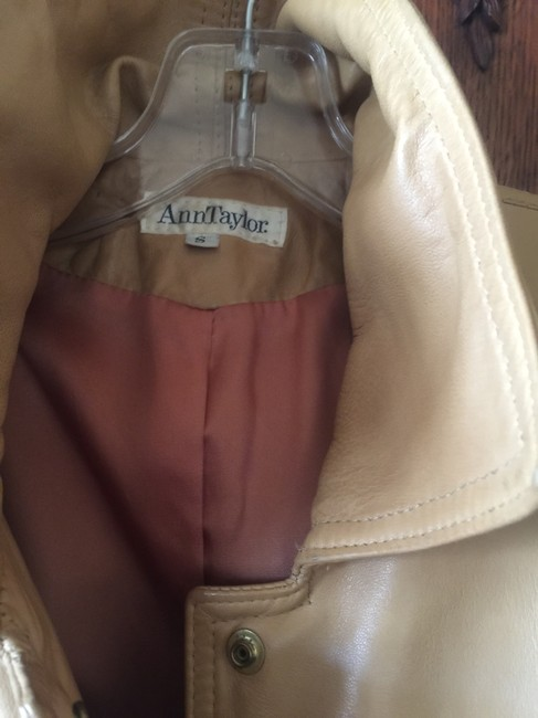 Ann Taylor Beige Leather Jacket Image 1