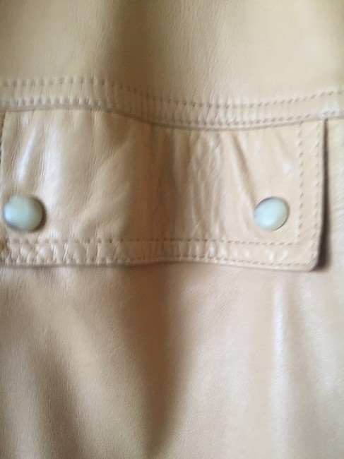 Ann Taylor Beige Leather Jacket Image 3