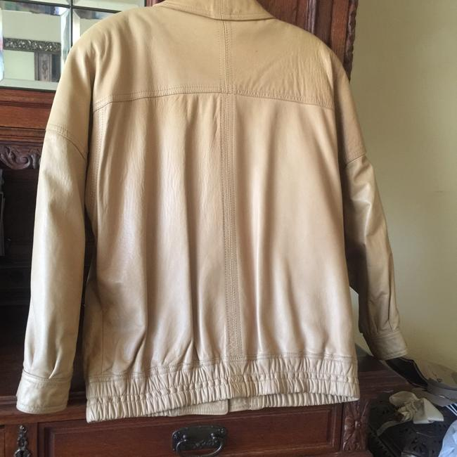 Ann Taylor Beige Leather Jacket Image 4
