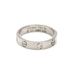Cartier Mini Love 18k White Gold 3.5mm Band Ring Size 50-US 5 Cert.