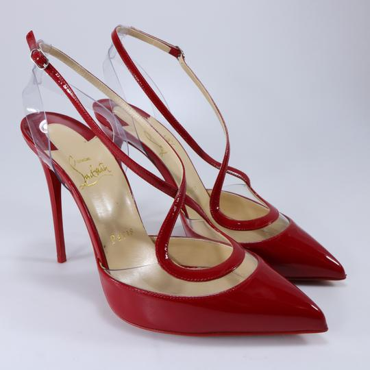 Christian Louboutin Pvc Clear Cross Strap Red Pumps Image 1