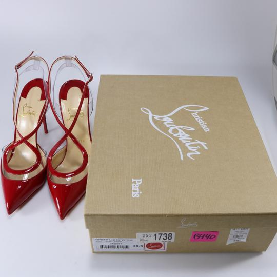 Christian Louboutin Pvc Clear Cross Strap Red Pumps Image 2