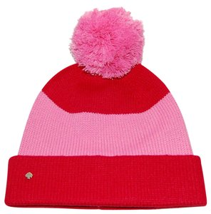 Kate Spade Striped Colorblock Beanie Pom Hat One Size