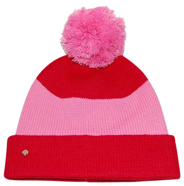 Item - Red Pink Striped Colorblock Beanie Pom One Size Hat