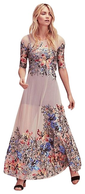 Item - Nude Blue Red Peach Green Starlit Mesh Maxi Long Formal Dress Size 6 (S)