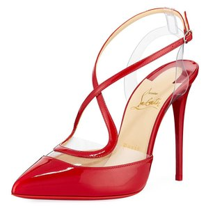 Christian Louboutin Pvc Clear Cross Strap Red Pumps