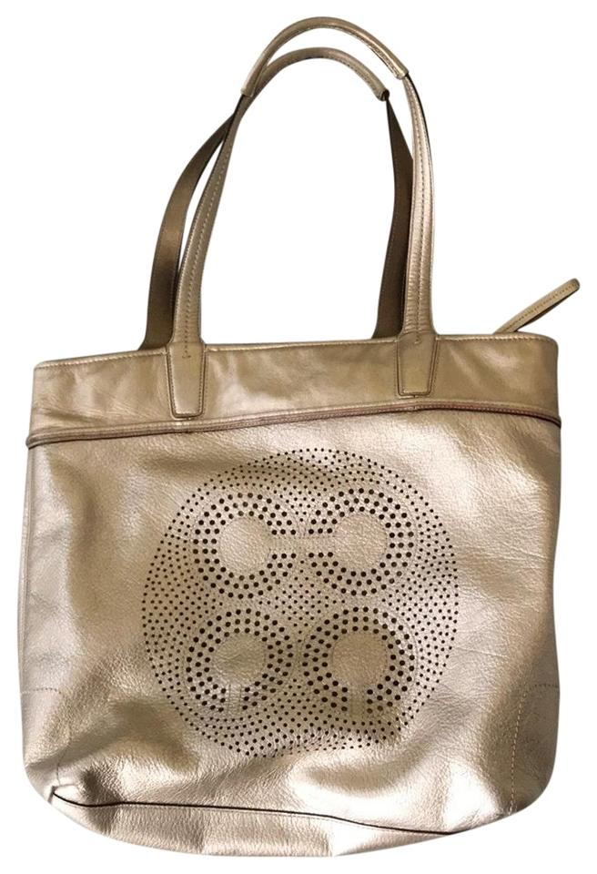 d550ce99dc15 Coach Perforated Gold Leather Tote - Tradesy