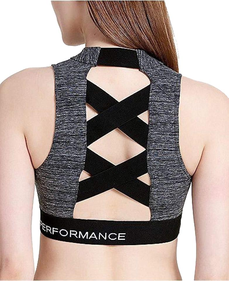 5a7f286ddf Calvin Klein Grey Black Performance Logo Cross Activewear Sports Bra ...