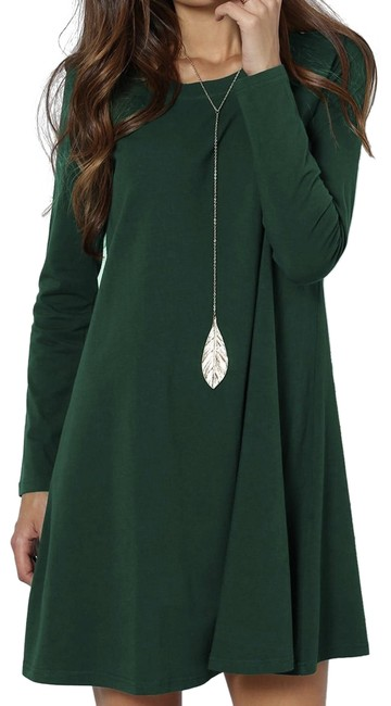Preload https://img-static.tradesy.com/item/24728065/shein-green-solid-swing-short-casual-dress-size-0-xs-0-1-650-650.jpg