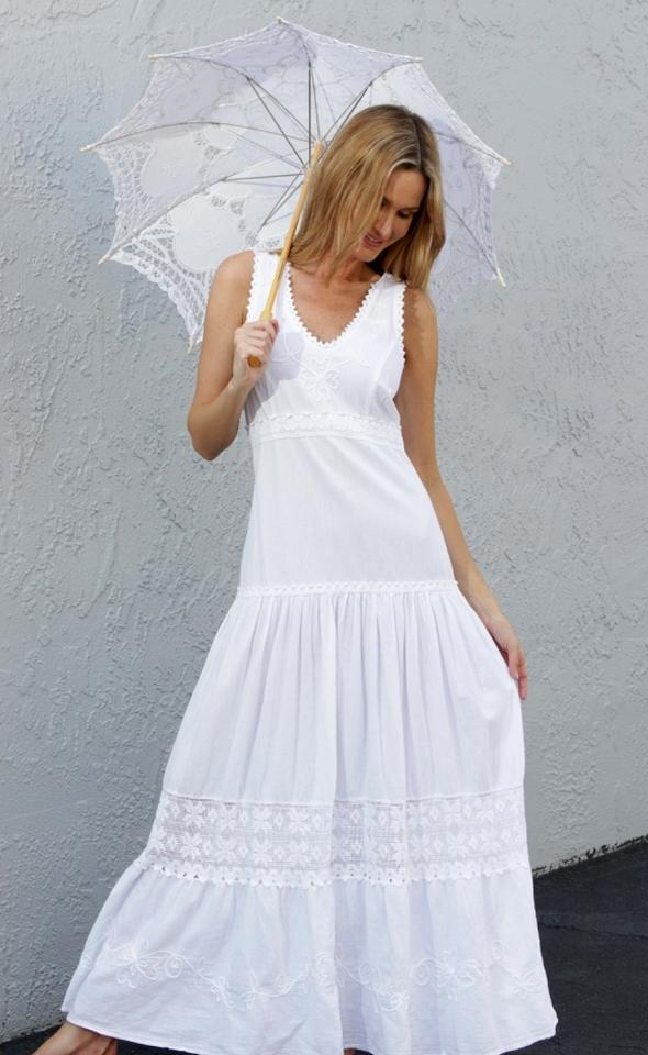 9e5047617354 Lirome White Organic Gauze Cotton Boho -nicola- Romantic Long Casual ...