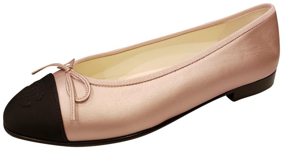 f5c7b25d8db Chanel Pink Black 18s Two Tone Leather Bow Cap Toe Ballerina Ballet Flats