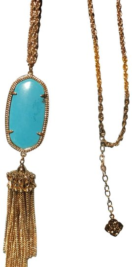 Preload https://img-static.tradesy.com/item/24728156/kendra-scott-turquoise-with-black-specks-rayne-tassel-gold-necklace-0-1-540-540.jpg