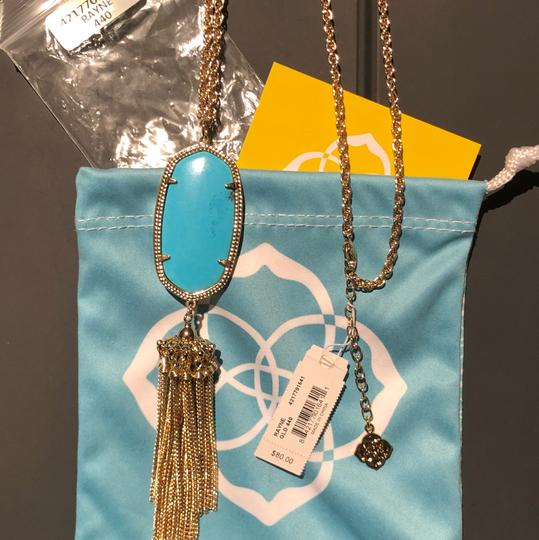 Kendra Scott Rayne Turquoise Tassel Necklace in Gold Image 1