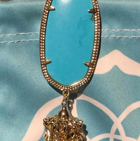 Kendra Scott Rayne Turquoise Tassel Necklace in Gold Image 2