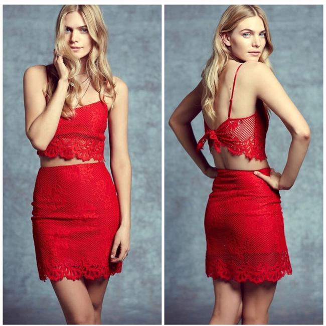 For Love & Lemons Mini Skirt Red Image 2