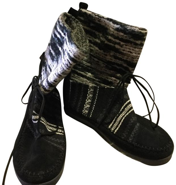 Item - Black and White Nepal Suede Textile Boots/Booties Size US 10 Regular (M, B)