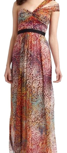 Item - Red and Gold Inga One-shoulder Print Silk Gown Long Formal Dress Size 0 (XS)