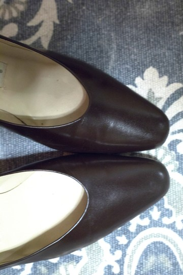 Etienne Aigner Leather Chunky Heeled brown Pumps Image 1