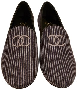 Chanel Loafers Moccasin Cc Striped Blue/Grey Flats