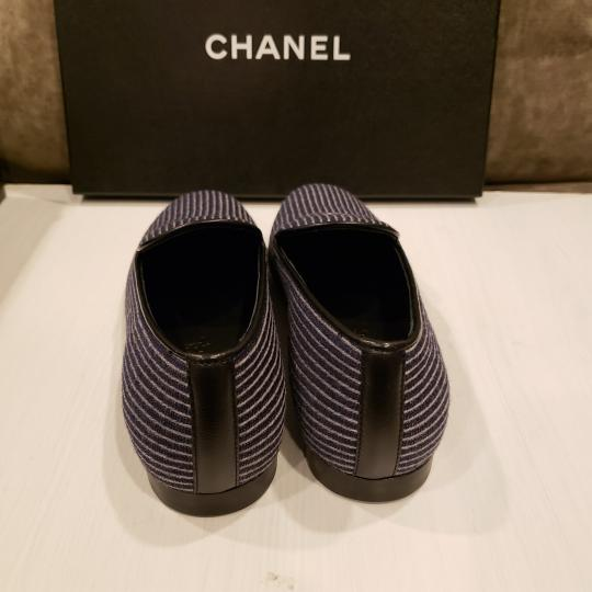 Chanel Loafers Moccasin Cc Striped Blue/Grey Flats Image 4