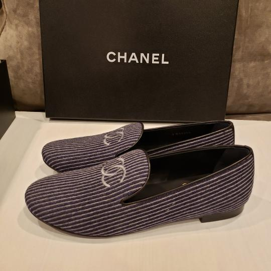 Chanel Loafers Moccasin Cc Striped Blue/Grey Flats Image 5