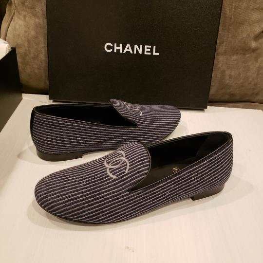 Chanel Loafers Moccasin Cc Striped Blue/Grey Flats Image 6