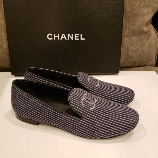 Chanel Loafers Moccasin Cc Striped Blue/Grey Flats Image 7