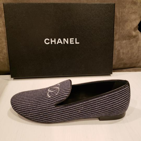 Chanel Loafers Moccasin Cc Striped Blue/Grey Flats Image 8