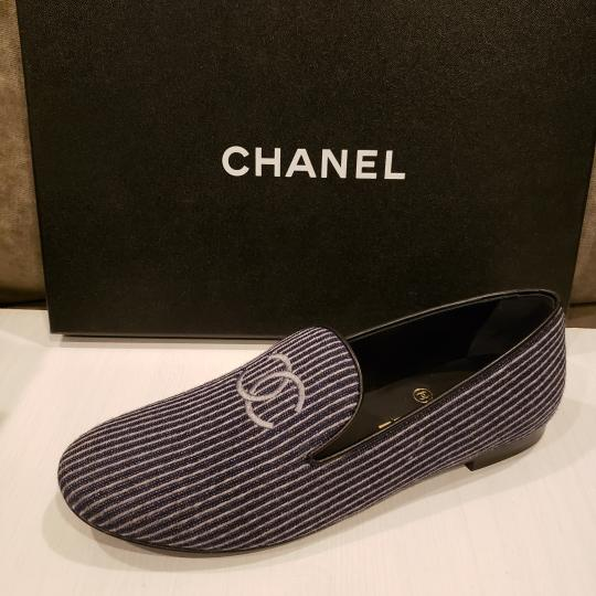 Chanel Loafers Moccasin Cc Striped Blue/Grey Flats Image 9