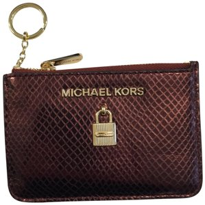 MICHAEL Michael Kors Adele Merlot Coin Pouch With ID Embossed Leather Mini Wallet
