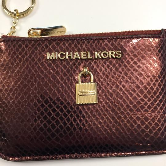 MICHAEL Michael Kors Adele Merlot Coin Pouch With ID Embossed Leather Mini Wallet Image 1