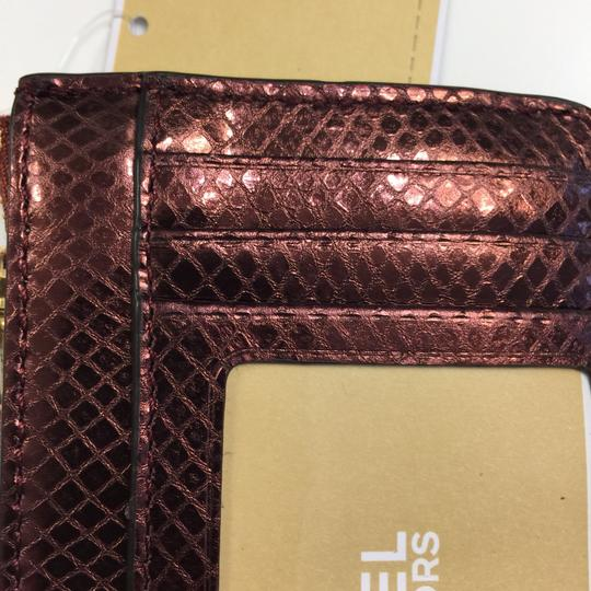 MICHAEL Michael Kors Adele Merlot Coin Pouch With ID Embossed Leather Mini Wallet Image 5