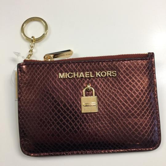 MICHAEL Michael Kors Adele Merlot Coin Pouch With ID Embossed Leather Mini Wallet Image 8