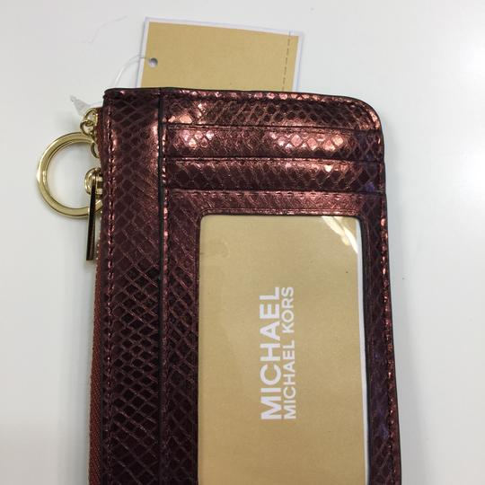 MICHAEL Michael Kors Adele Merlot Coin Pouch With ID Embossed Leather Mini Wallet Image 9