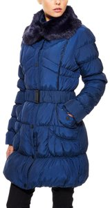 Betsey Johnson Puffer Belted Fur Collar Down Jacket Coat