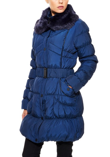 Betsey Johnson Puffer Belted Fur Collar Down Jacket Coat Image 1