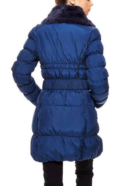 Betsey Johnson Puffer Belted Fur Collar Down Jacket Coat Image 2