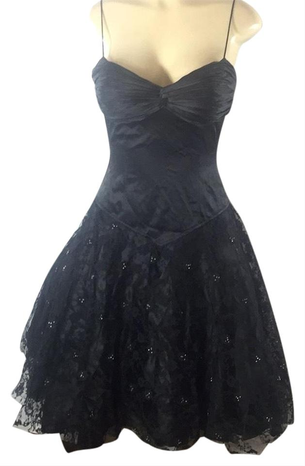 d1542f2d8e8 CLARISSE Black Silk With Swarovski Crystals Mid-length Cocktail ...