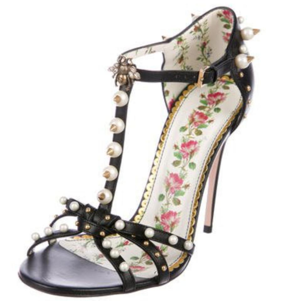 155f616a2c6e Gucci New Black Leather Heels with Faux Pearls and Gold Tone Spike  Embellishments. Regina Sandals