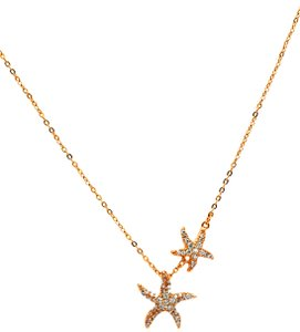 Ocean Fashion Gold fashion double starfish crystal necklace