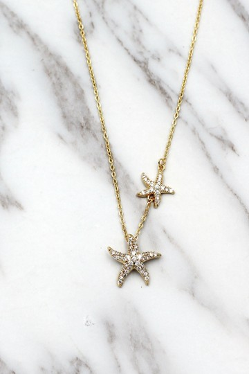 Ocean Fashion Gold fashion double starfish crystal necklace Image 3