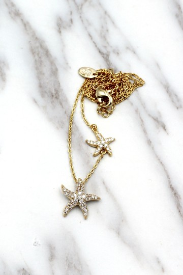 Ocean Fashion Gold fashion double starfish crystal necklace Image 4