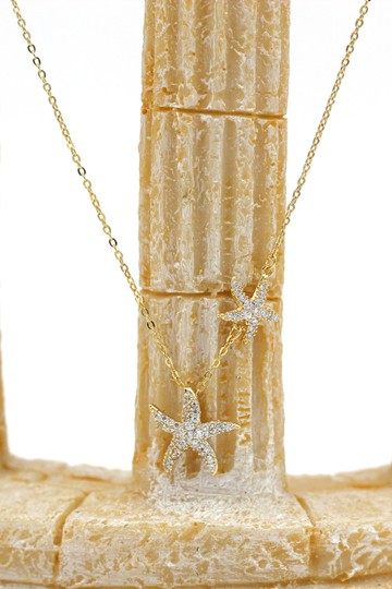 Ocean Fashion Gold fashion double starfish crystal necklace Image 5