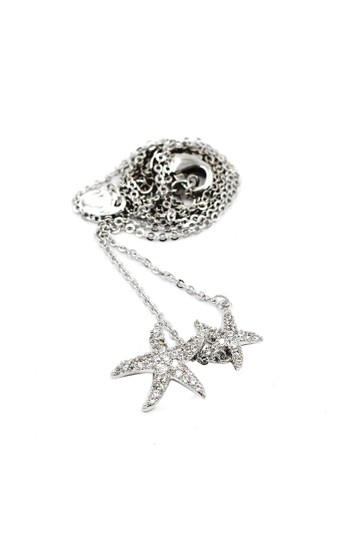 Ocean Fashion Silver fashion double starfish crystal necklace Image 1