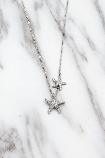 Ocean Fashion Silver fashion double starfish crystal necklace Image 2