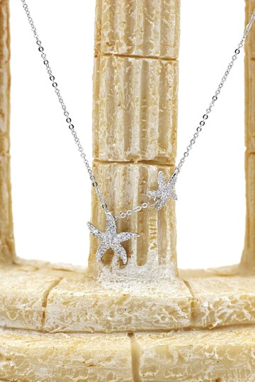 Ocean Fashion Silver fashion double starfish crystal necklace Image 4