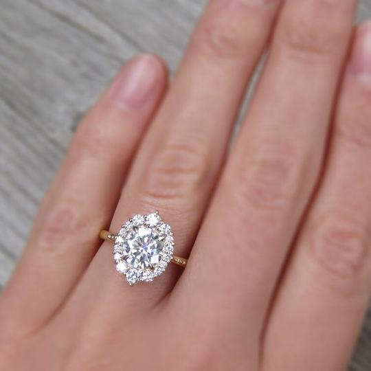 Eve St. Claire 14k Gold diamond halo engagement ring Image 1