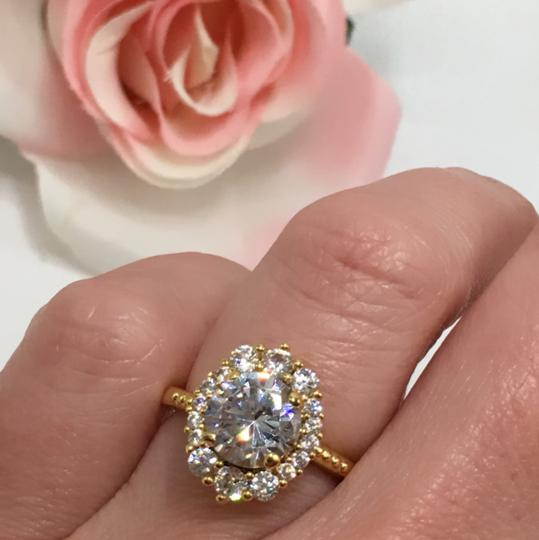 Eve St. Claire 14k Gold diamond halo engagement ring Image 3