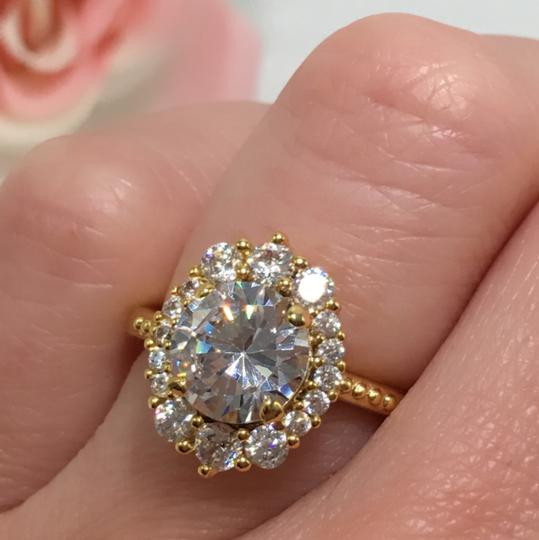 Eve St. Claire 14k Gold diamond halo engagement ring Image 4