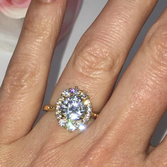 Eve St. Claire 14k Gold diamond halo engagement ring Image 5